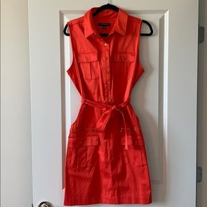 Coral Belted Dress